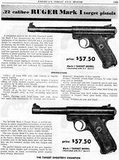 1954 Print Ad of Ruger Mark I .22 Target Pistol