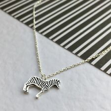 Argento Placcato Collana Zebra. Compleanno, Animale Amante. personalizzata. carta regalo.