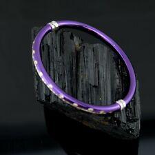 Vtg Sterling Silver Milor Italy Purple Clamper Bangle Bracelet