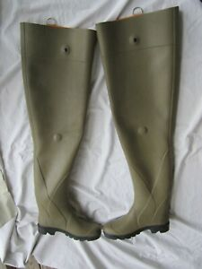 Le Chameau Boots Waders Hip Size 44 Green Black Lined Made in France USA 11