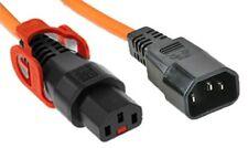 Power Extension Cable IEC C14 Male Plug to IEC C13 Female Lock Plus  Orange 1.5m