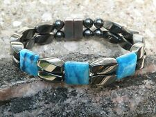 Magnetic Hematite Bracelet Anklet 2 Row Blue Crazy Lace Agate 3 Stone Series
