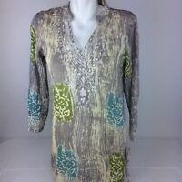 Urban Mangoz Women's Long Sleeve V-Neck Boho Tunic Sz. S Embroidered Embellished
