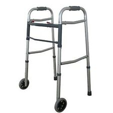 """Dual 2 Button Folding Walker with 5"""" Wheels Heavy Duty Professional UP TO 300lbs"""