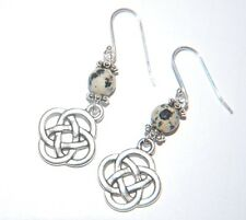 Attractive Spotty DALMATIAN Gemstone & CELTIC KNOT Sterling Silver Earrings