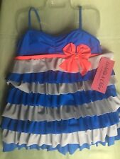 Isobella  And Chloe Girls 2 Piece Ruffled Tiers Tankini Swimsuit Size 12-New