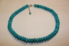 """Estate- Striking Turquoise Bead Necklace, Sterling Clasp, 18"""", Never Worn"""