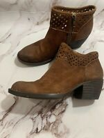 Born Womens Suede Leather Closed Toe Ankle Boots, Brown 8.5