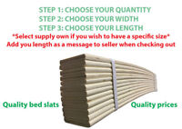 REPLACEMENT BED SLATS SPRUNG ALL SIZES UPTO 970MM CUT TO SIZE **FREE SLAT CAPS**