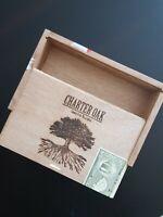 Empty Wood Cigar Box Charter Oak, Rothschild Slide Lid Guitar Craft Storage