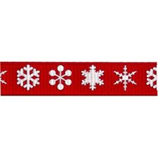 White Snowflakes on 9mm Red Grosgrain Bertie's Bows Ribbon on 3m Length