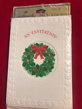 "Vintage Hallmark ""An Invitation� cards Christmas Holiday Sealed 1 pack of 8"