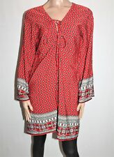 BOOHOO Brand Red Printed Long Sleeve Tunic Top Size 16 BNWT #TK14
