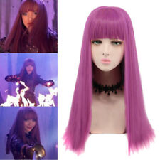 For Halloween Cosplay Party Dress Descendants 2 MAL Wig Long Purple+Wig Cap