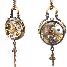 Bola de vidrio especial para mujeres y hombres Esqueleto Reloj Bolsillo Mecánico Cuerda a Mano Regalo