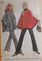 """RETRO MCCALL'S PATTERN 2030 CAPE & BELL BOTTOM PANTS SIZE 9 BUST 32"""""""