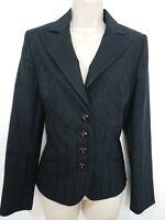 M&S Per Una Speziale Black Pinstripe Fitted Wool Blazer Jacket Size 10 Occasion