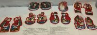Vintage SET of 7 CHILDREN Of CHRISTMAS PAST TREE ORNAMENTS Fabric PANEL 1980's