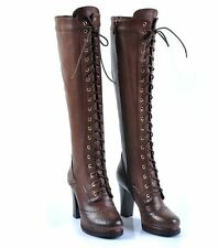 Women New  knee boot gothic Brogue leather high heel platform lace up Boots 2017