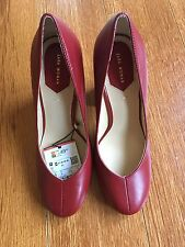 Brand New In Box Zara Genuine Block High Heel 100% Cow Leather Red Shoes Size 6