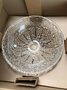 "JSG Oceana Pebble 16"" Glass Bathroom Vessel Sink Bowl, Crystal 005-303-000"