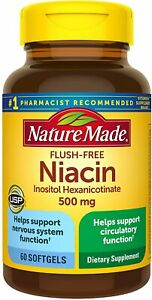 Nature Made Niacin 500mg Flush-Free Softgels, 60 Count, Helps Support...