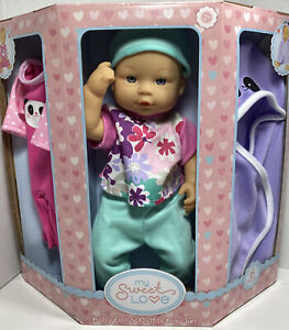My Sweet Love Baby Doll & Outfits 6 Piece Play Set Panda Clothes New