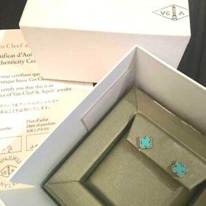 Van Cleef & Arpels Turquoise Sweet Alhambra Earrings with Box