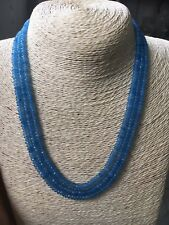 GENUINE TOP NATURAL 3 Rows 2X4mm FACETED Aquamarine BEADS NECKLACE 18-20''