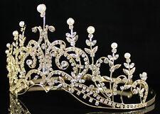 CLEAR AUSTRIAN RHINESTONE PEARL CRYSTAL TIARA CROWN BRIDAL WEDDING 01290 GOLD