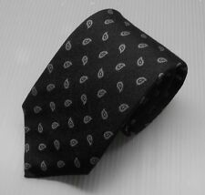 NWT $205 Ermengildo Zegna Tie Black With Paisley Design Made in Italy 100% Silk
