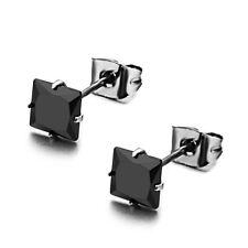 Charming Black CZ Stainless Steel Unisex Men Women Square Earrings