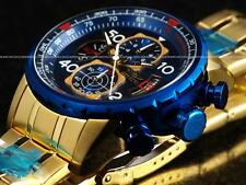 Invicta Aviator 19173 Men's 18k Gold Ion Plated Blue Chronograph Watch