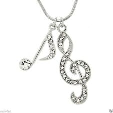 """W Swarovski Crystal Treble Clef Note Song Music Pendant Necklace 18"""" Chain Gift"""