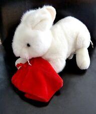 066- DOUDOU PELUCHE HUSKY PLUSH & COMPAGNY LAPIN rabbit BLANC SAC ROUGE red NEUF