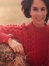 F Knitting Pattern - Aran Chunky Sweater Cable Pattern - 5 Size Options