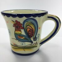 Rooster Heart Coffee Mug Tea Cup Hand Painted Portugal Multi-Color Chicken