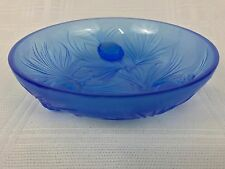"Verlys Vintage French Art Glass 6 1/4"" Footed Blue Pine Cone Bowl Signed"