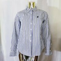 Walt Disney World Womens White Blue Striped Mickey Mouse Button Up Shirt M