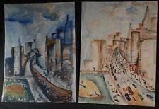 Pair Mid-Century American Modernist Paintings Skyscrapers Cars Corrigan Baseball