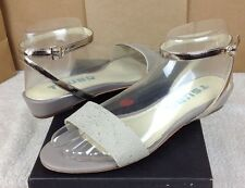 TSUBO GANSEVOORT WET CEMENT RAY LEATHER STRAP WEDGE WOMENS SIZE 7.5 US
