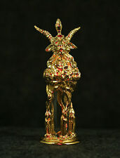 Baphomet Oil Bottle - Gold-plated Clear Glass Levi Occult Mendes Goat