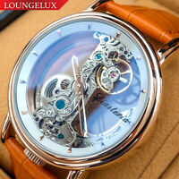 Mens Luxury Bling Bridge Automatic Mechanical Watch Rose Gold White Dial Orange