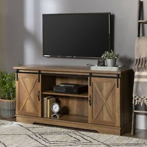 Manor Park Farmhouse Sliding Barn Door TV Stand - Rustic Oak