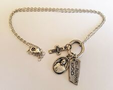 """God Bless Pope Francis Vatican Pewter Cross Charm Necklace w 20"""" Rope Chain"""