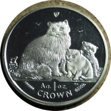 elf Iom Isle of Man 1 Crown 2007 Ragdoll Cat and Kittens Silver Proof