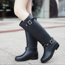 US5-US9.5 Punk Womens Zipper Waterproof Snow Rain Knight Knee Boots Black Ske15