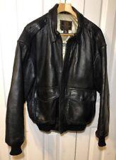 Cockpit USA Black Leather Jacket A2 Size Large Embroidered WW2 Flag Emblems