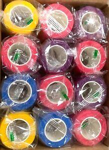 "Self Adhesive Bandage wrap, 2"", 12 Rolls  Breathable Vet -Sports"