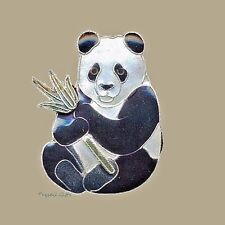 Bamboo Jewelry PANDA PIN Brooch Cloisonne Enamel STERLING BEAR + Gift Box